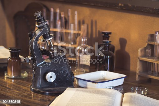Antique laboratory  microscope and  glassware with selective focus. Science and medical research concept