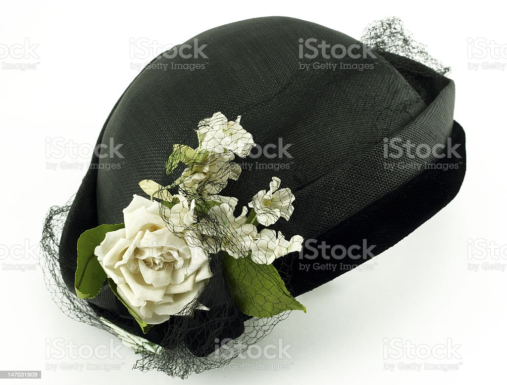 Antique Ladies Hat with Flowers on White stock photo