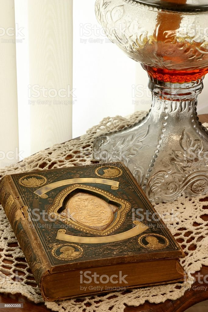 Antique Lamp & Book royalty-free stock photo