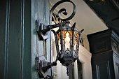 A black antique metal lantern in New Orleans
