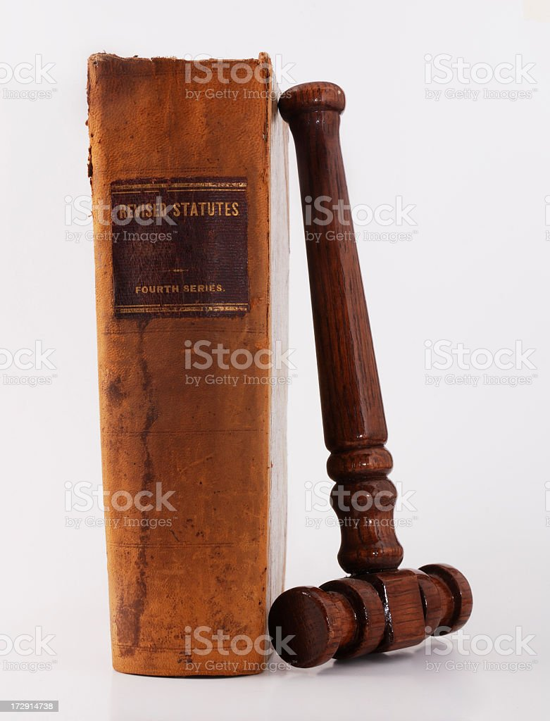Antique Law Book and Gavel royalty-free stock photo