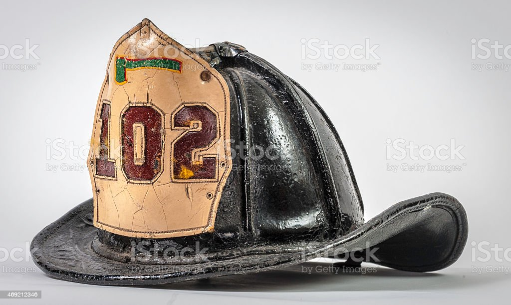Antique Leather Fire Helmet from New York City stock photo