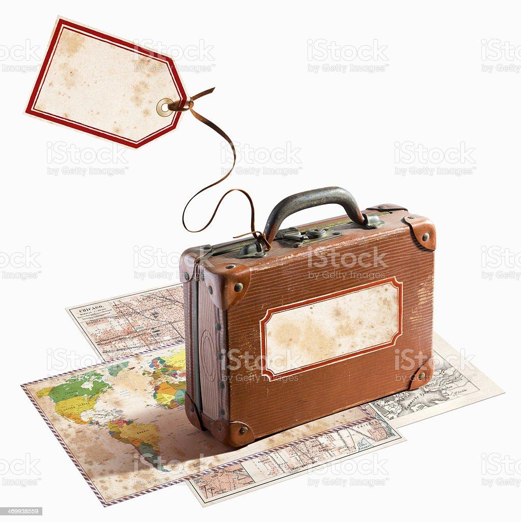 Mala de viagem de couro, antiguidades em diversos mapas - foto de acervo