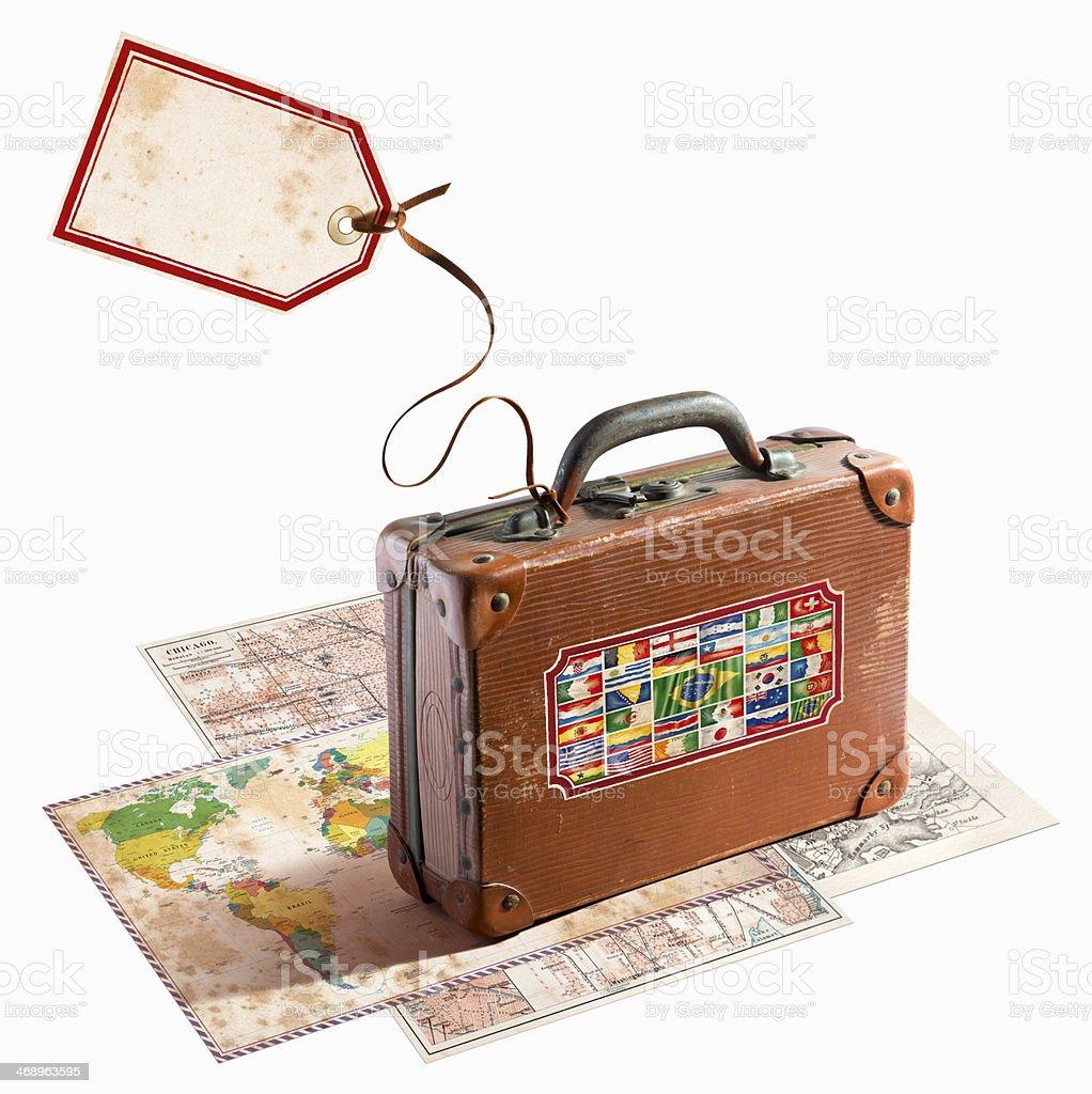 Mala de viagem de couro, antiguidades em diversos mapas mundo Bandeiras - foto de acervo