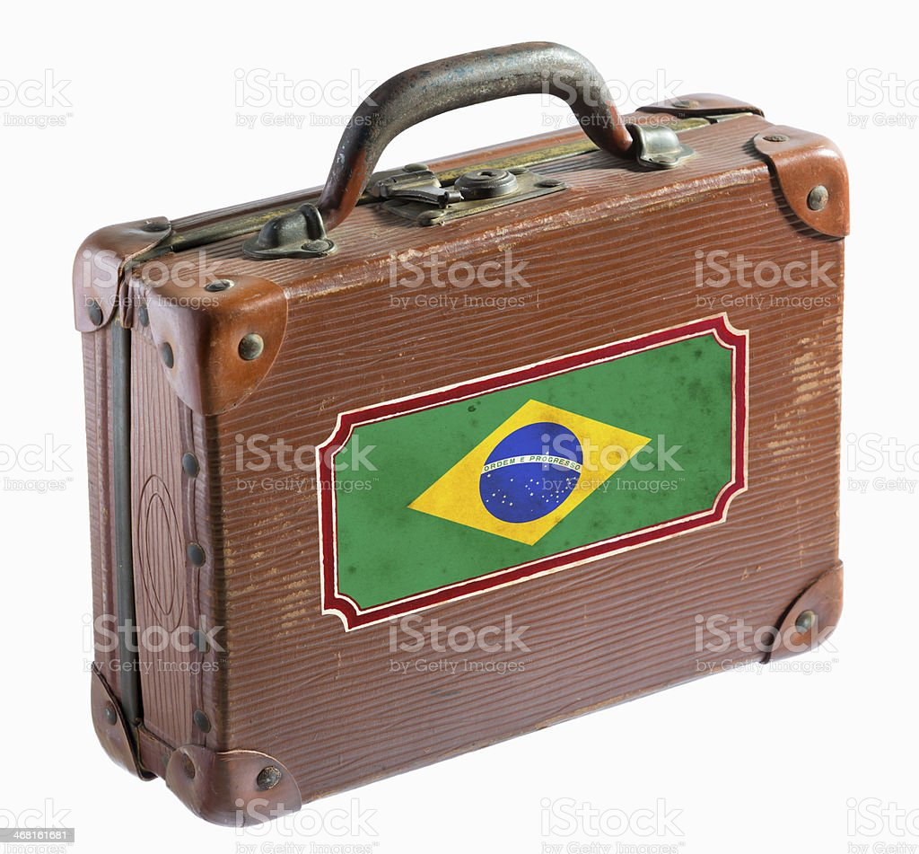 Antique leather suitcase with Brazil flag on label stock photo