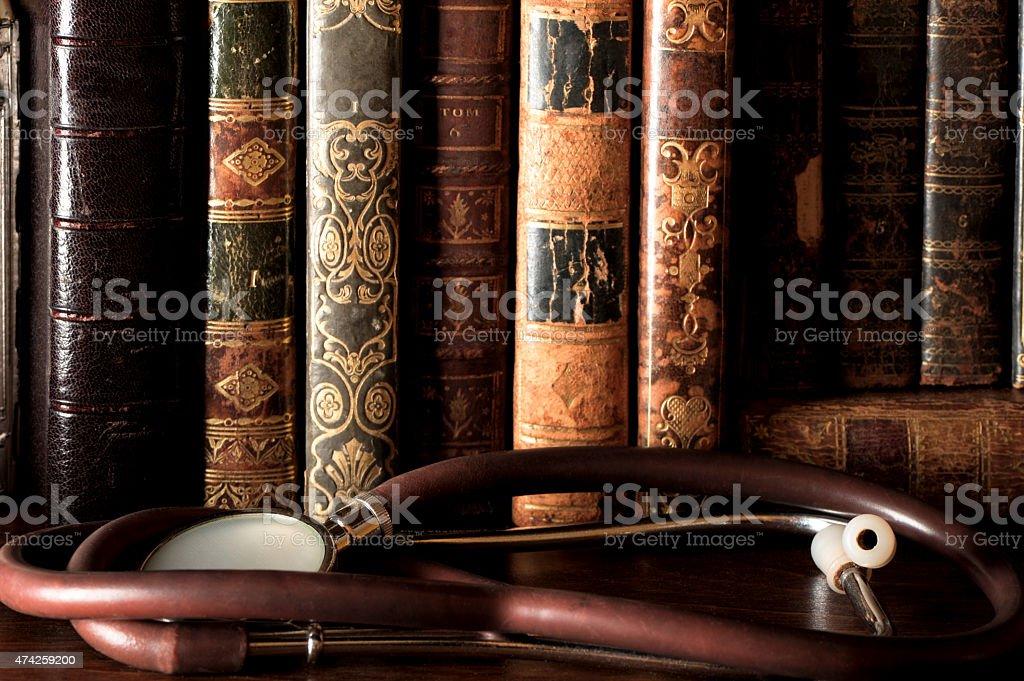Antique Leatherbound Books on Shelf stock photo