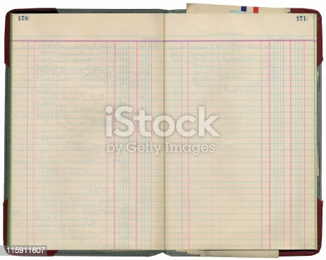 Blank pages of a ledger book from the 1920's. Writing on reverse shows faintly through the pages. Large, sharp scan.