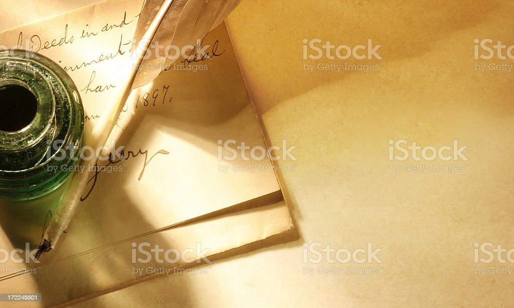Antique Letter and Pen royalty-free stock photo
