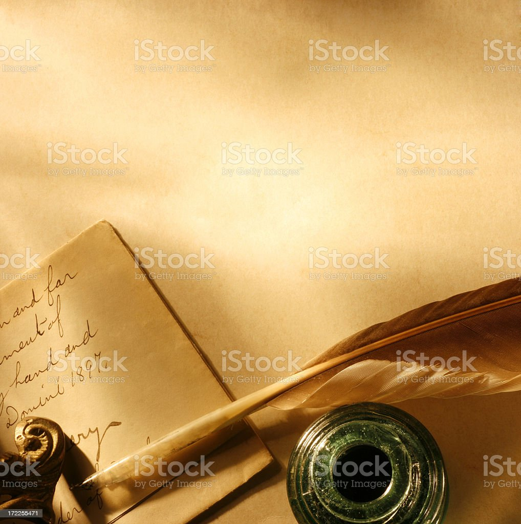 Antique Letter and Pen stock photo