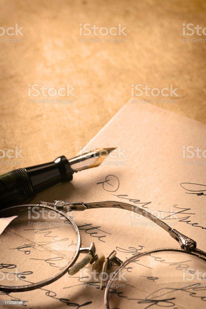 Antique Letter & Pen royalty-free stock photo