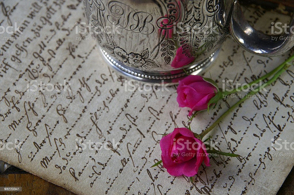 Antique letter stock photo