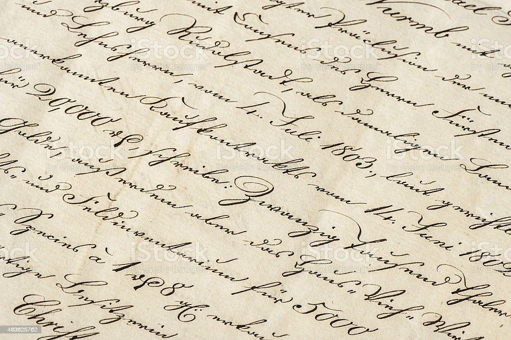 Anticuario carta con calligraphic el texto escrito a mano for Fondos de escrito