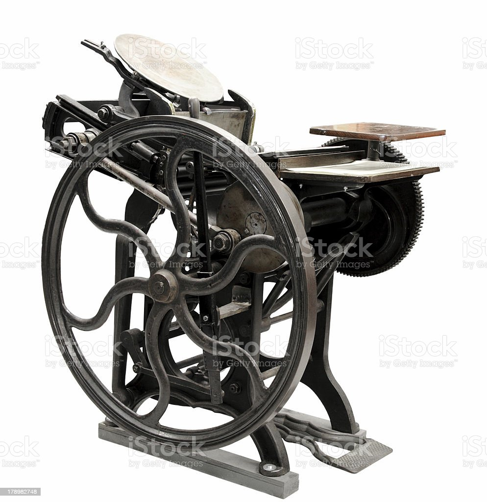 antique letterpress from 1888 stock photo