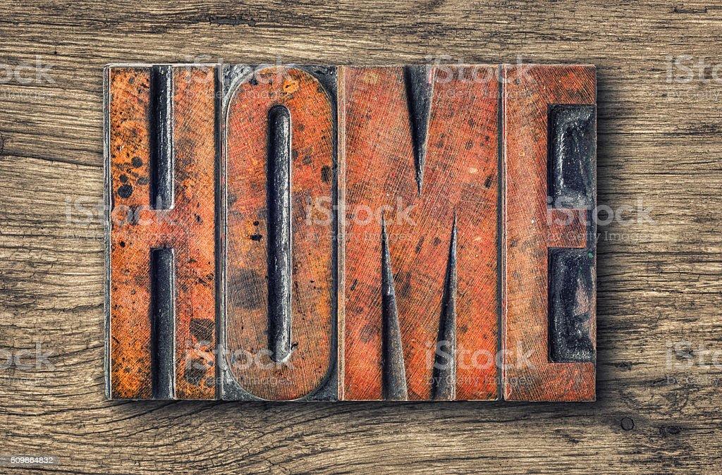 Antique letterpress wood type printing blocks - Home stock photo