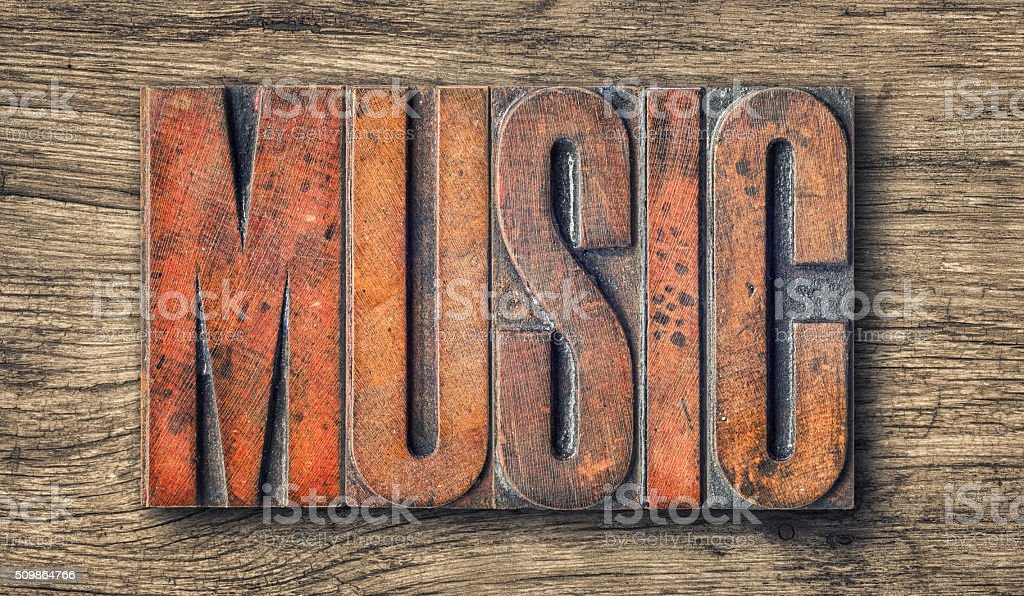 Antique letterpress wood type printing blocks - Music stock photo