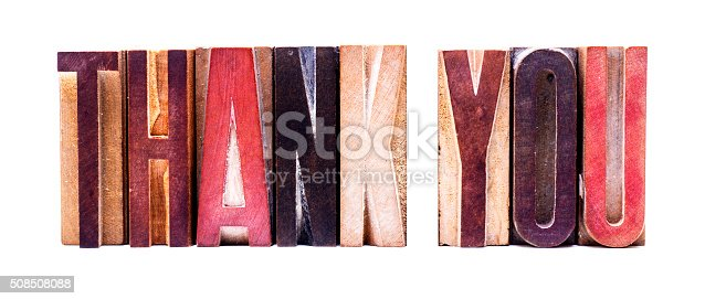 istock Antique Letterpress wooden letters spelling THANK YOU 508508088