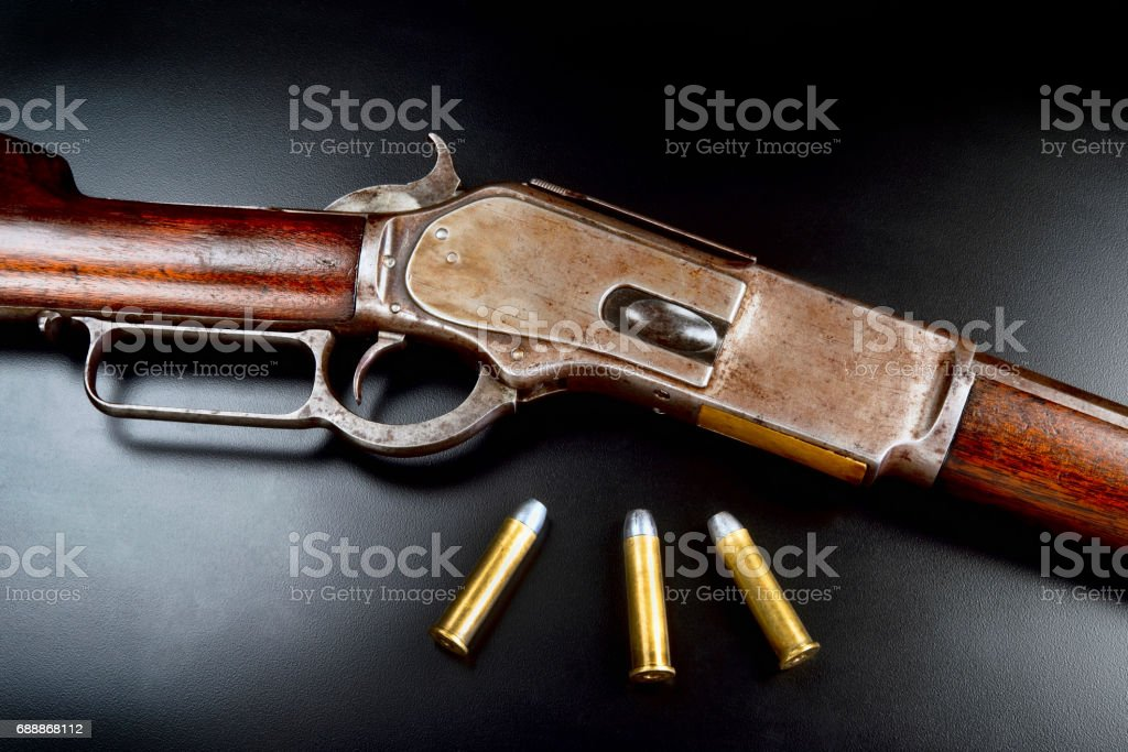 Antique Lever Action Rifle Stock Photo & More Pictures of