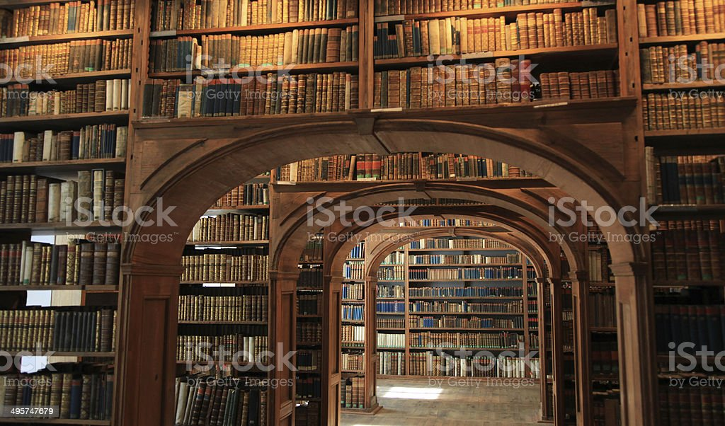 Antique library stock photo