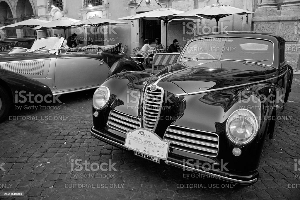 Antique limousine car show with classic Alpha Romeo car in the...