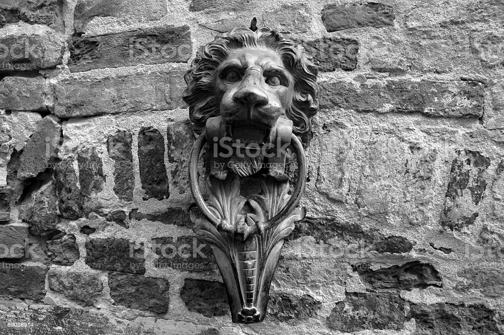 Antique Lion Door Knocker, Venice, Italy. royalty-free stock photo