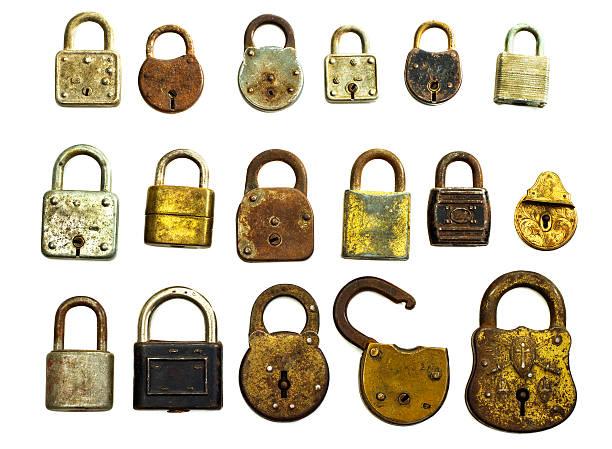 Antique Locks Isolated On White stock photo