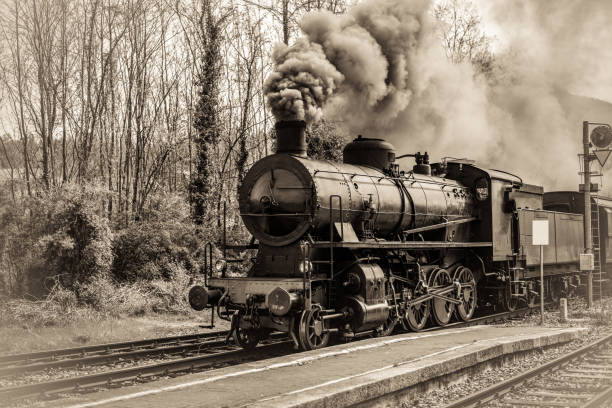 Antique locomotive train in Italy stock photo