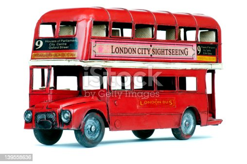 Antique metal toy London double decker bus, dating from the 1950s, made by a famous toy manufacturer
