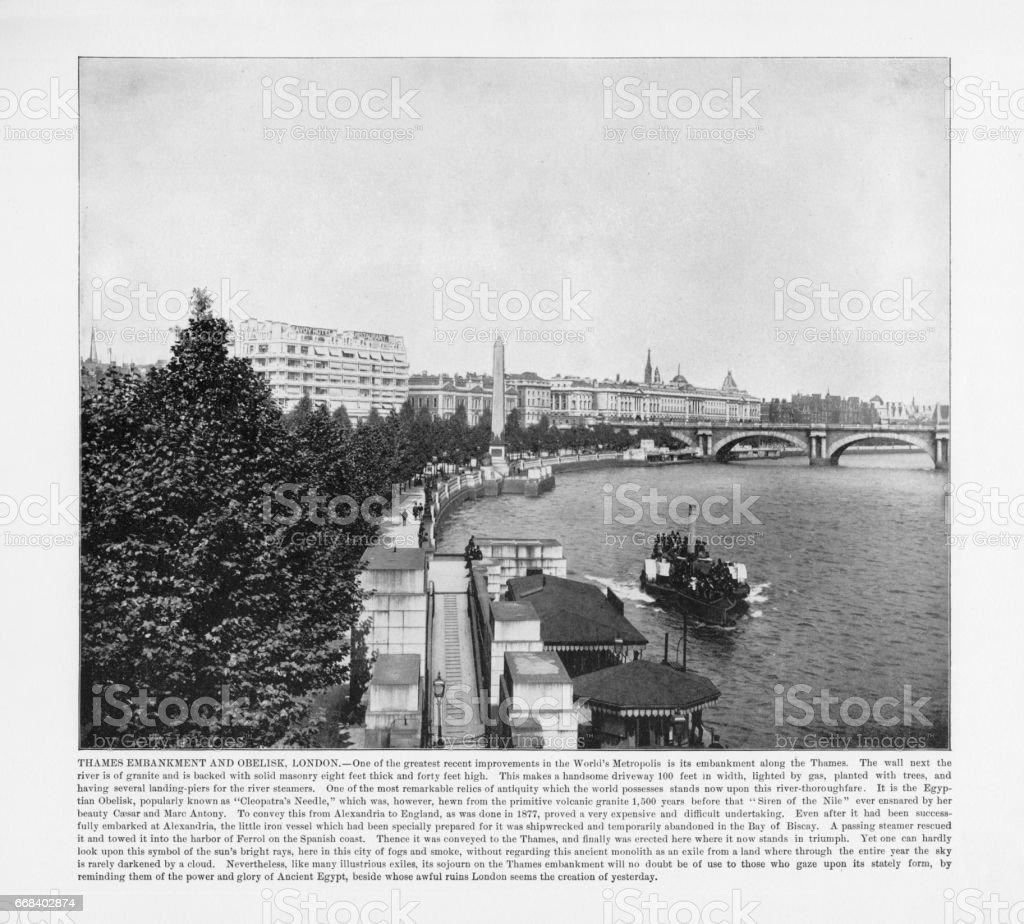 Antique London Photograph: Thames Embankment and Obelisk, London, 1893 stock photo