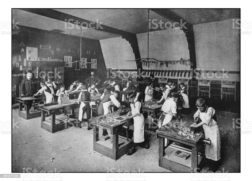 Antique London's photographs: Board School Carpentry class stock photo