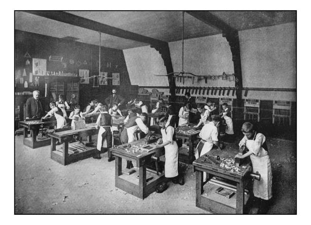 Antique London's photographs: Board School Carpentry class Antique London's photographs: Board School Carpentry class 19th century stock pictures, royalty-free photos & images