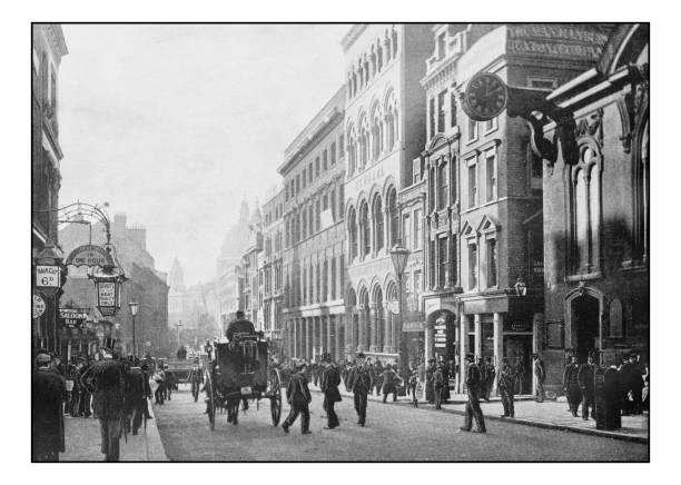 Antique London's photographs: Cannon Street Antique London's photographs: Cannon Street 19th century stock pictures, royalty-free photos & images