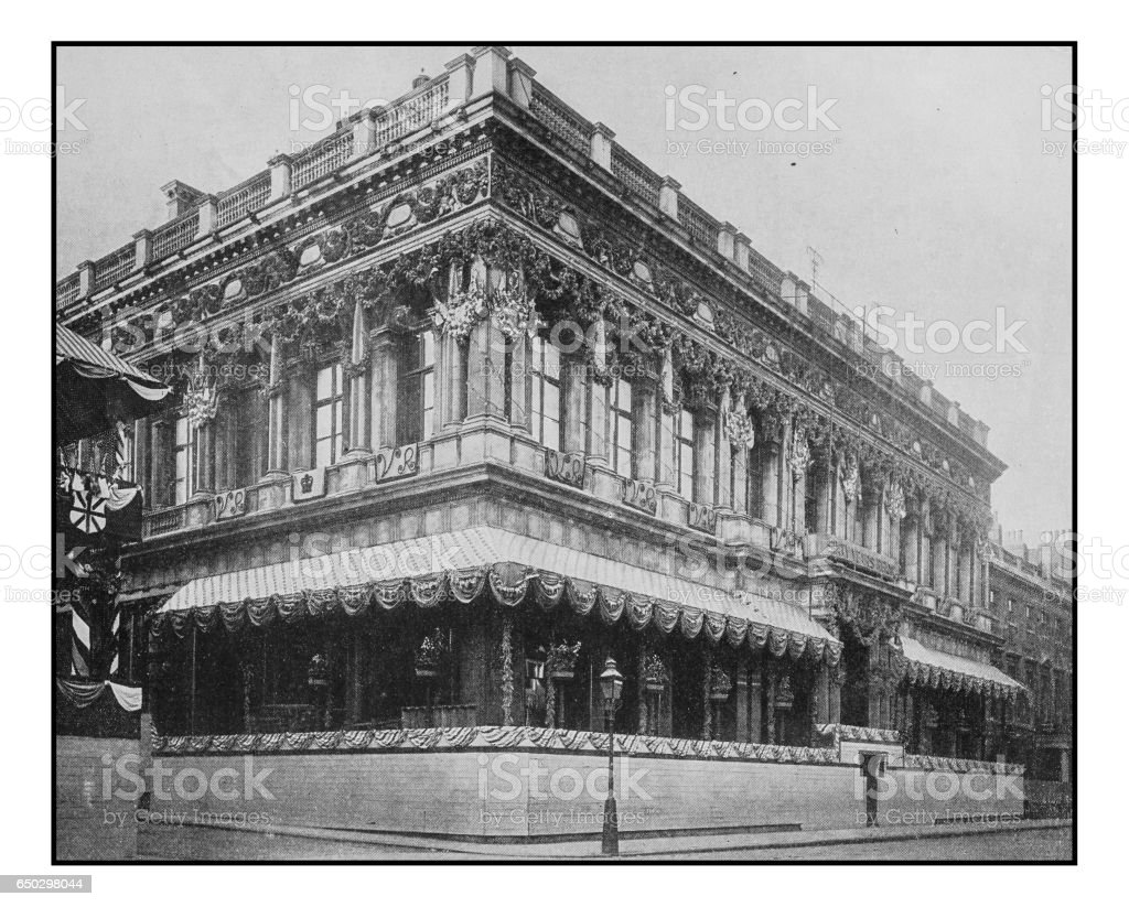 Antique London's photographs: Decorations at the Carlton Club and Marlborough House stock photo