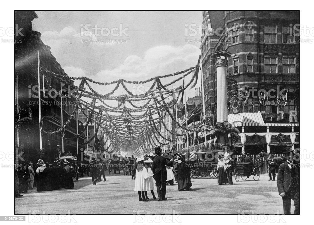 Antique London's photographs: Decorations in St James street stock photo