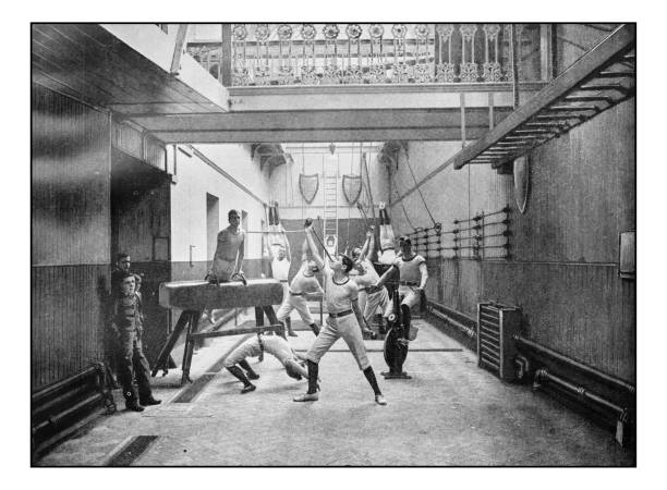 antique london's photographs: exeter hall gymnasium - archival stock photos and pictures