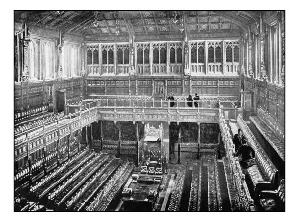 Antique London's photographs: Interior of the House of Commons stock photo