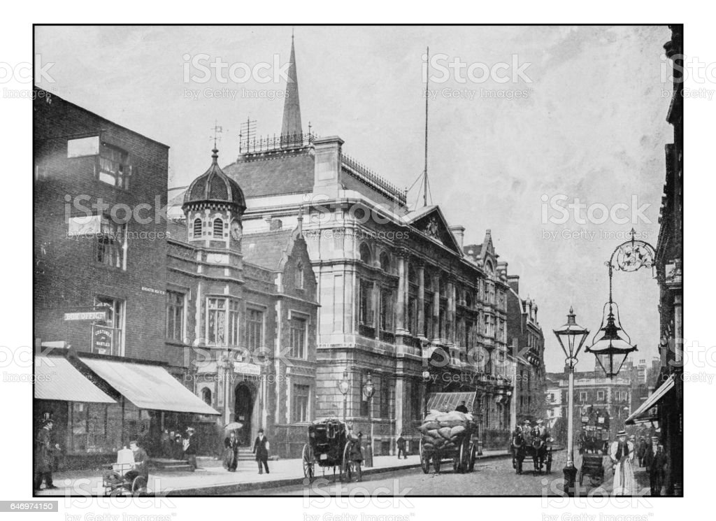 Antique London's photographs: Kensington town hall and public library stock photo