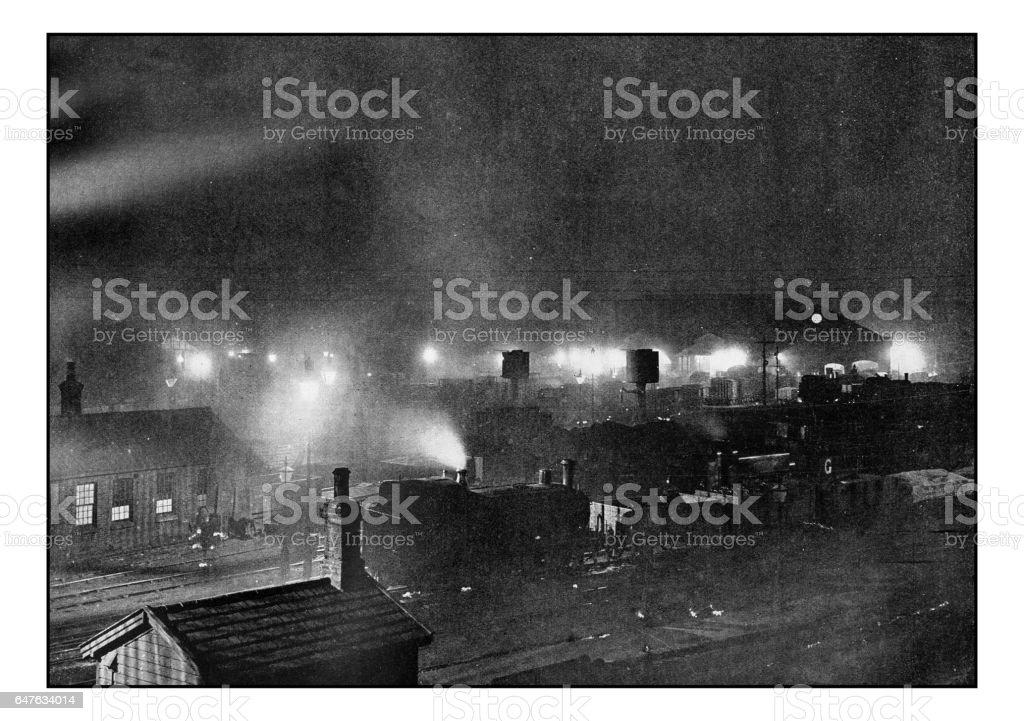 Antique London's photographs: King's cross Goods-Yard at night stock photo