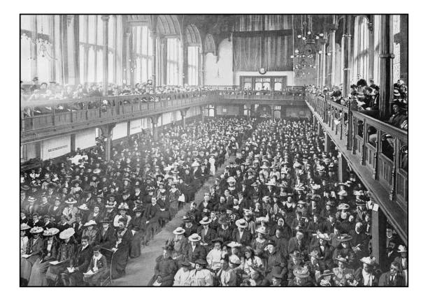 Antique London's photographs: Missionary meeting in Church House, Westminster Antique London's photographs: Missionary meeting in Church House, Westminster 1890 stock pictures, royalty-free photos & images