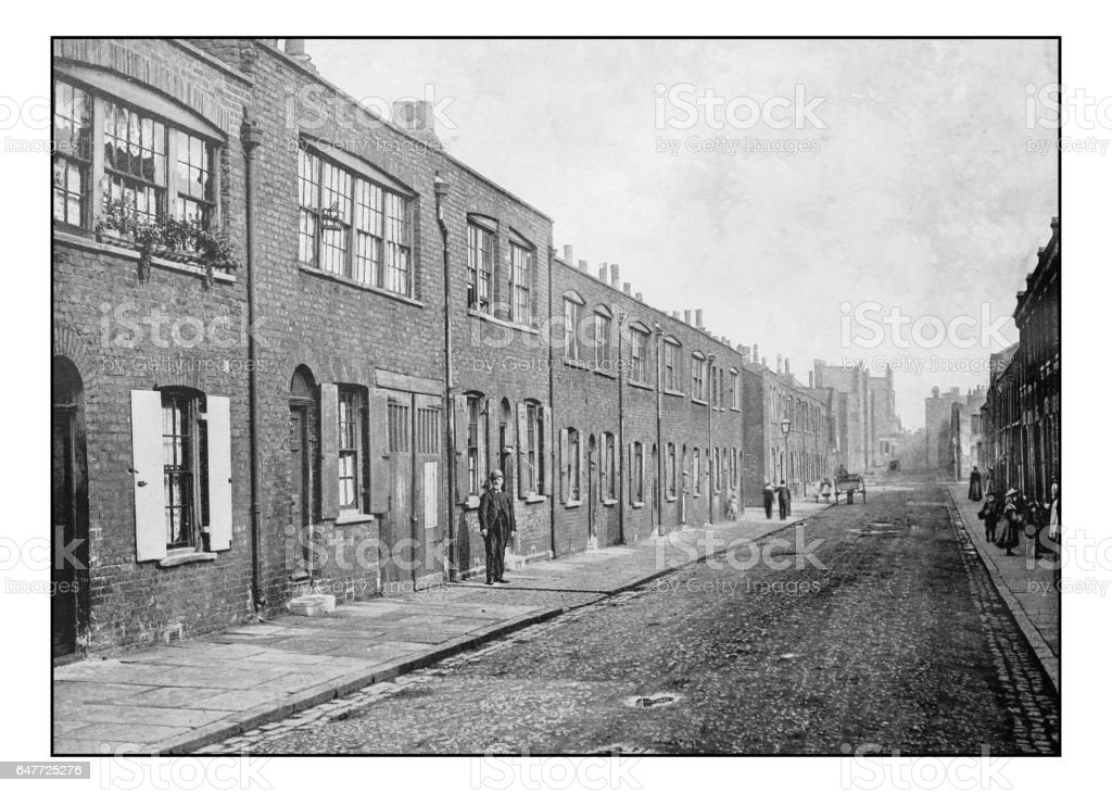 Antique London's photographs: Old weaver's house at Bethnal Green stock photo