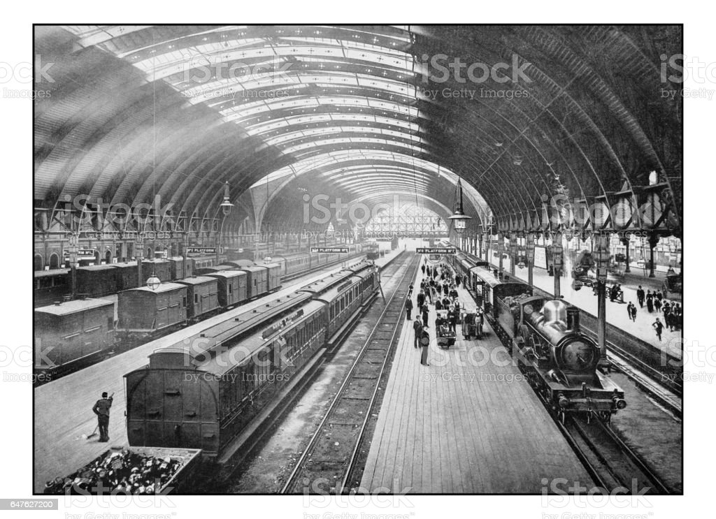 Antique London's photographs: Paddington Station stock photo