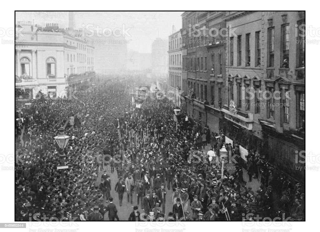 Antique London's photographs: Political demonstration on the way to Hyde Park stock photo