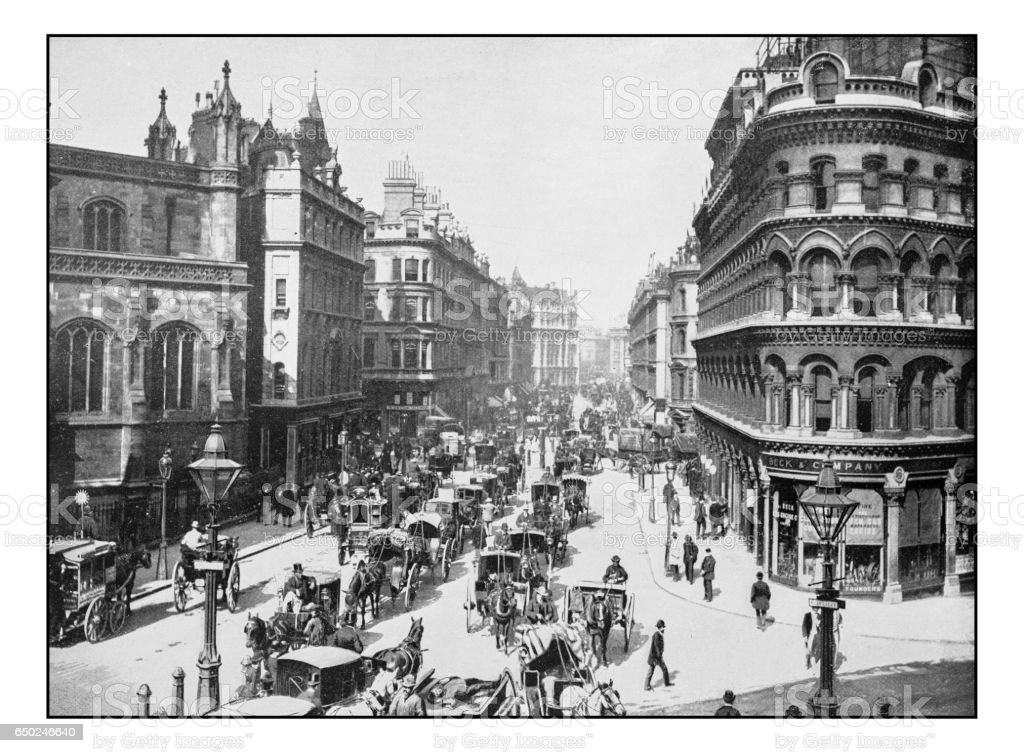 Antique London's photographs: Queen Victoria Street stock photo