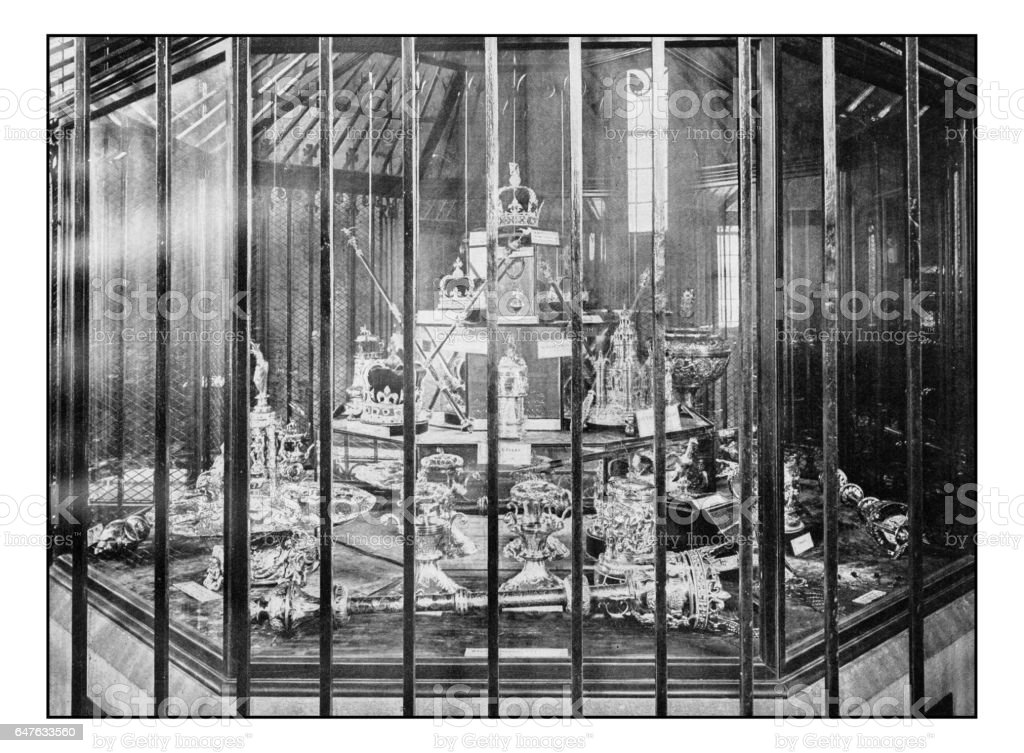 Antique London's photographs: Regalia in the Tower of London stock photo