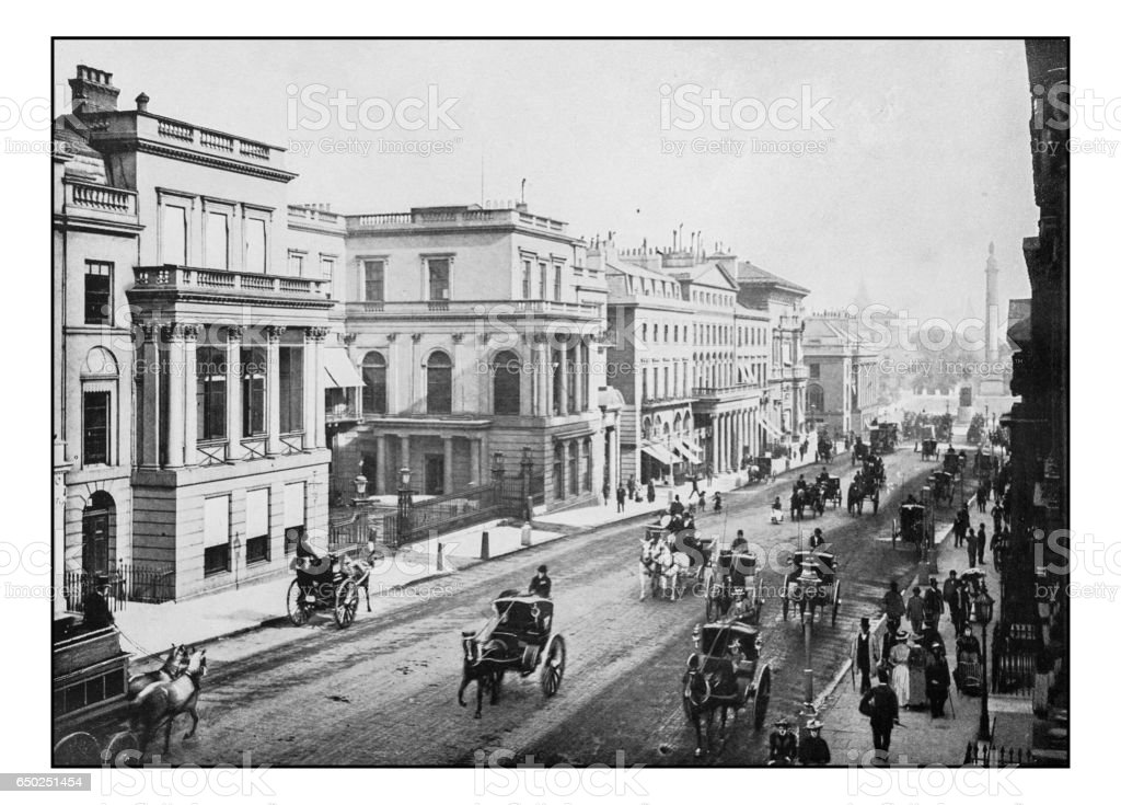 Antique London's photographs: Regent Street and Waterloo Place stock photo