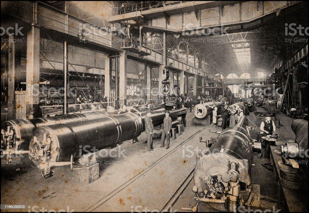 Antique London's photographs: Royal gun factory, Woolwich Arsenal Antique London's photographs: Royal gun factory, Woolwich Arsenal 1890 Stock Photo