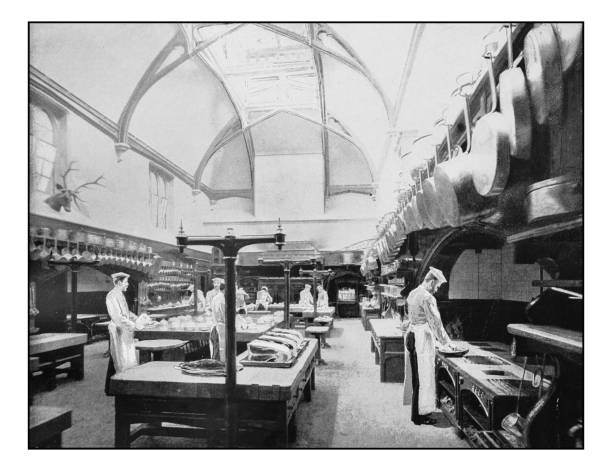 Antique London's photographs: Royal Kitchen, Windsor Antique London's photographs: Royal Kitchen, Windsor cooking black and white stock pictures, royalty-free photos & images