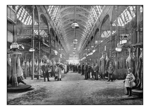 Anciennes photographies de Londres: marché de la viande de Smithfield - Photo