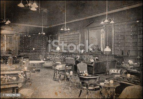Antique London's photographs: Smoking room of the Carlton club
