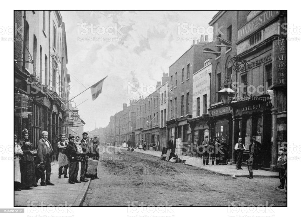 Antique London's photographs: St. George's Street, Ratcliff Highway stock photo