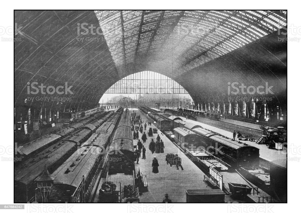 Antique London's photographs: St Pancras station stock photo